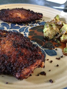 Chipotle Panko coated Chicken with Brussels Sprouts